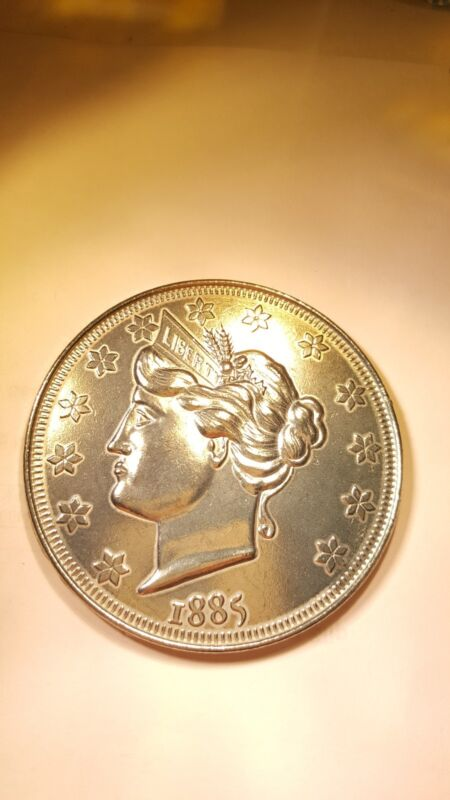 Large 3 Inch Novelty Medal/Coin/Coaster/Paperweight 1885 Liberty V Nickel Coin