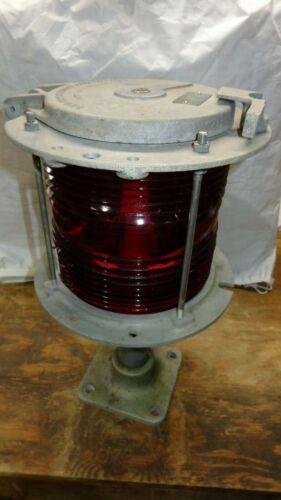 Vintage Marine Navigation Light Fixture 360 Degree Red Fresnel Glass Lens & Base