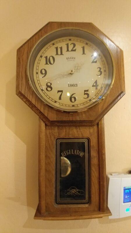Elgin Regulator 1863 Wood Wall Clock Works Good Tested