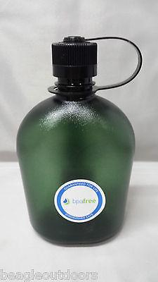 NEW Nalgene Oasis Narrow Mouth 32oz Canteen Water Bottle Foliage w/Black Lid ()