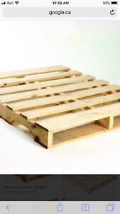 Wood pallets, maybe 10 or 15