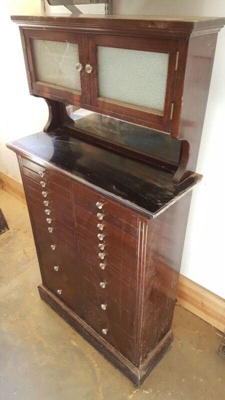 Antique Vintage Mahogany Dental Cabinet Circa 1910 American Cabinet Company