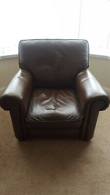 Real Leather Brown Armchair.