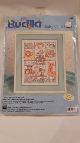 "Bucilla Counted Cross Stitch Kit 10/"" x 13/"" Birth Record /""Fancy Friends/"" Baby"