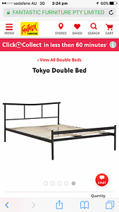 Black steel frame double bed & doublebed mattress South Yarra Stonnington Area Preview