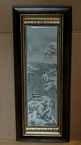 ANTIQUE 19C CHINESE PAINTING ON PORCELAIN PLAQUE DEPICTING A SNOW SCENE #1SIGNED