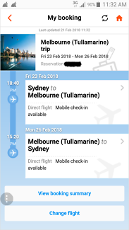 2 x Return airfares Sydney to Melbourne over weekend - GOOD DEAL