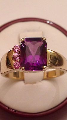 14k Yellow Gold African Amethyst & Pink Tourmaline Ring, Emerald Cut, Size 8 1/4