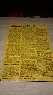 Blechschild - Vorschriften im Betrieb von Starkstromanlagen 1936, super Zustand