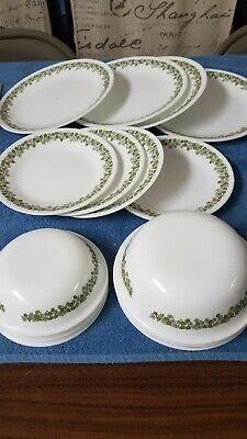 Vintage 1970'S CORELLE SPRING BLOSSOM GREEN, dish set serves 4