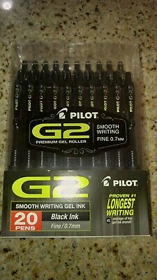 Pilot G2 Premium Retractable Gel Ink Ball Pen Fine Black 20 Count 31732