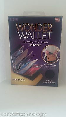 Wonder Wallet Amazing Slim RFID Wallets As Seen on TV Black Leather BRAND NEW