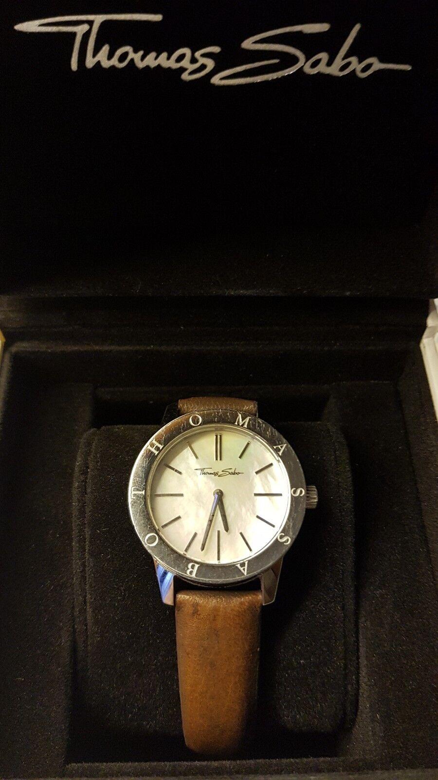 Thomas Sabo Uhr silber groß Damen Lederarmband braun rund Quarz Perlmuttzifferbl