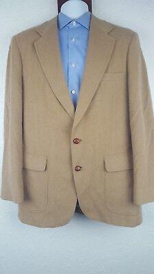 John Alexander 42 Long Brown Blazer Jacket 2 Domed Button Front USA Camelhair