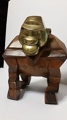 "RARE Vintage Hand Carved Gorilla Ape with Brass Head and Tail 8"" x 9"" Heavy"
