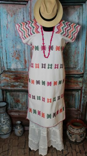 Kaftan Huipil Handwoven Multi-Color Oaxaca Mexico San Juan Colorado Resort Wear