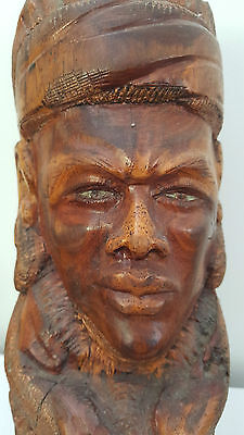 Majestic 1960s African Ironwood Carved Bust Sculpture signed Buddha
