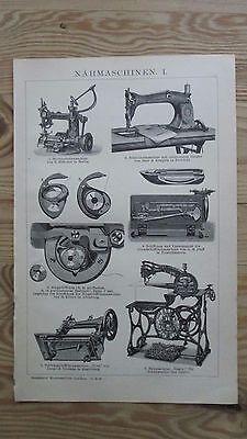 Druck, Bild, Antiquität,Nähmaschinen