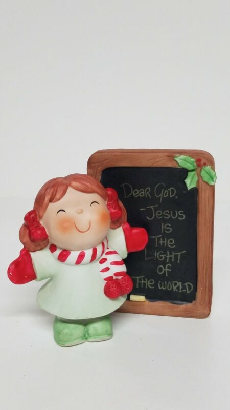 Vtg Enesco Dear God Kids 1984 Christmas Figurine Jesus Is The Light Of The World