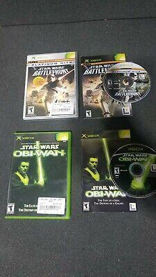 Original Xbox 2x Game Lot - Star Wars Battlefront & Obi-wan CIB TESTED