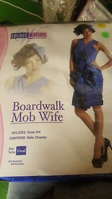 Boardwalk Mob Wife Roaring 20's Flapper Blue Fancy Dress Gatsby Adult Costume xs - Boardwalk Flapper Costume