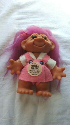 "Vintage 1961 Girl Troll Bank 7"" Pink Hair Bows Dress Denmark #190948"