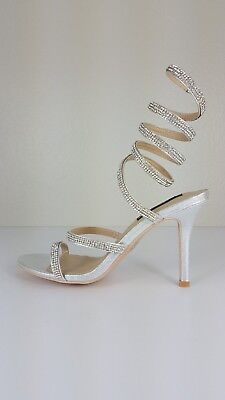 Spiral Heel (Women rhinestones spiral leg wrap stiletto shoes party wedding )