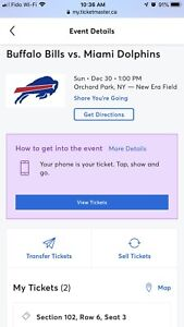 2 Buffalo Bills Tickets - AMAZING SEATS