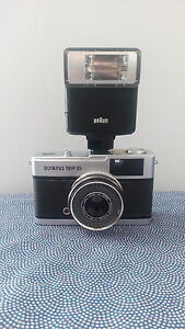 Vintage Olympus Trip Point and Shoot Camera with Braun Flash