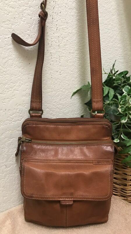 Fossil Vintage Brown Rugged Leather Organizer Crossbody Bag Shoulder Handbag
