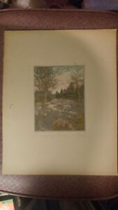 HAND PAINTING PRINT  SIGNED  SAWYER* THE LAUGHING BROOK *