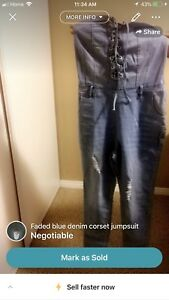 Faded blue denim corset jumpsuit