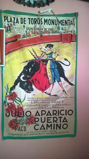 Art cloth original advertisement outside arena at bullfight 1955 Miranda Sutherland Area Preview