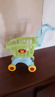 Kids play toy trolley