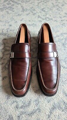 Salvatore Ferragamo Men's Brown Leather Slip On Loafers Shoes Sz 10.5
