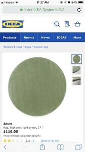 Ikea thick Round area rug  with anti-slip underlays