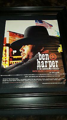 Ben Harper Burn To Shine Rare Original Promo Ad Framed!