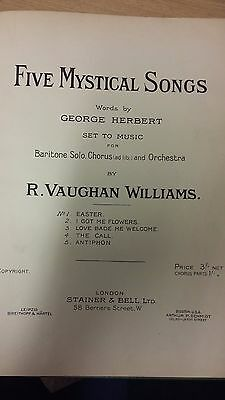 R Vaughan Williams: Five Mystical Songs: Vocal Music Score
