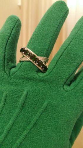 Russian Chrome Diopside Crisscross SS 925 Ring Size 8