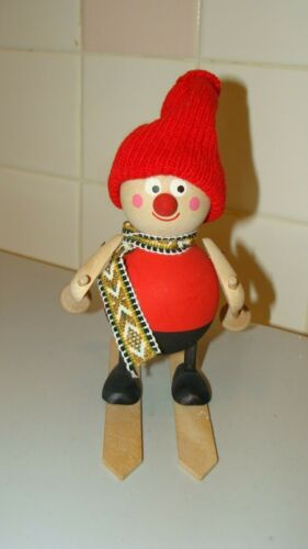"""Wood Hand Carved Skier Figurine Made in Sweden 6"""" tall x 5.1"""" x 3.2"""""""