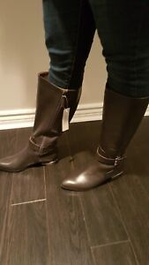 Wide Calf grey leather Nine West boots!!