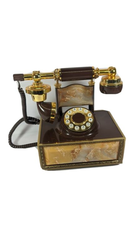 Vintage Rotary Phone Antique Style Beautiful Brass/Granite Base Victorian Retro