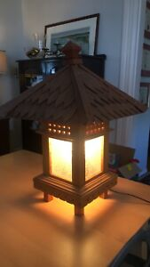 Thai hand carved electric patio lantern 100$
