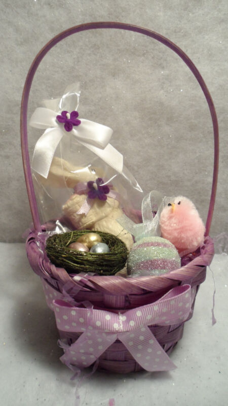 Easter Basket Faux White Chocolate Bunny Rabbit & Ornaments~TableScape
