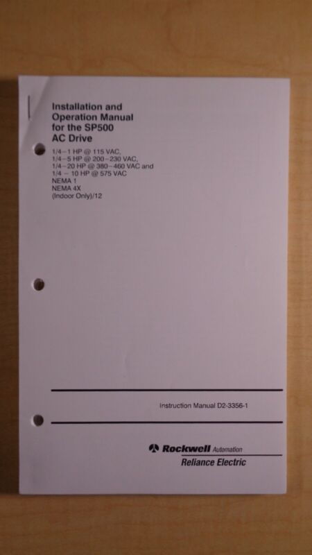 Rockwell Reliance SP500 AC Drive Installation Operation Manual D2-3356-1 8F B4