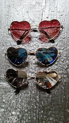 Sonnenbrille in Herzform Blau Rot Grau Gläser Hippie Boho Romantisch