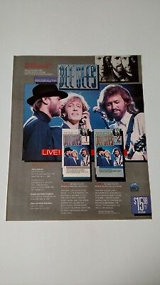 """BEE GEES  """"WORLD CLASS ONE FOR ALL TOUR"""" RARE ORIGINAL PRINT PROMO POSTER AD"""