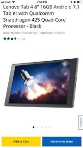 """Lenovo Tab 4 8"""" 16GB Android 7.1 Tablet with Qualcomm - Black"""