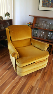 Vintage Gold Velour Reclining Arm Chair