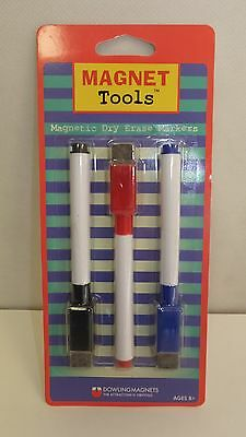 Magnet Tools Magnetic Dry Erase Markers 3 Pack Black Blue Red 735201